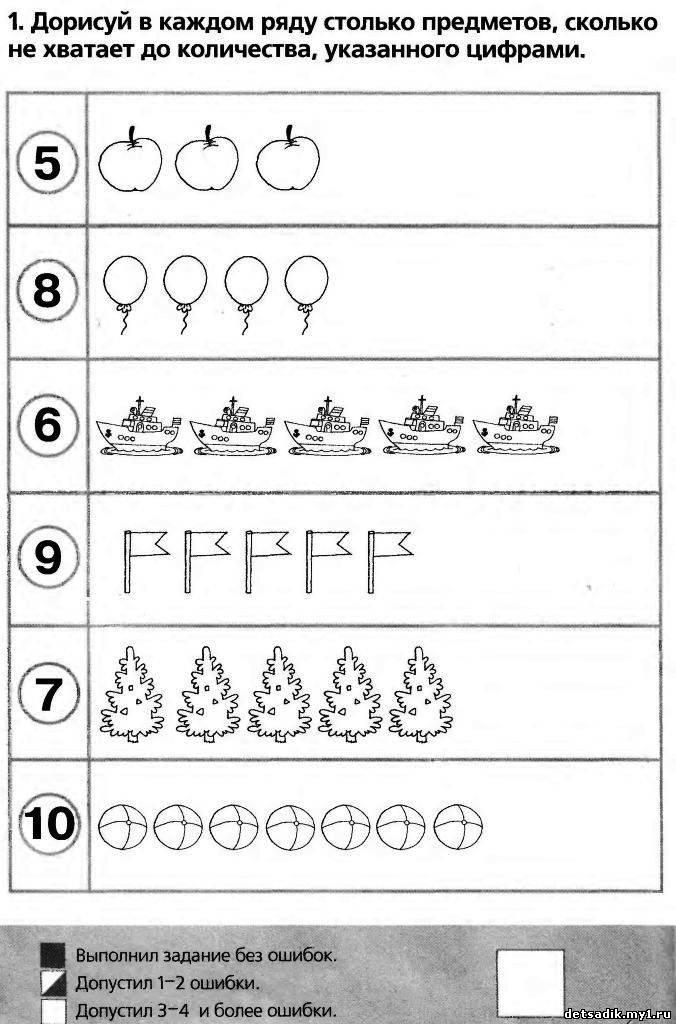 Тесты для первоклассников по математике